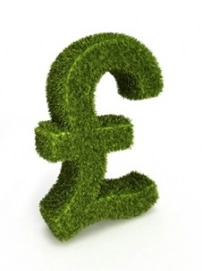 Green pound sign (GBP) made from grass