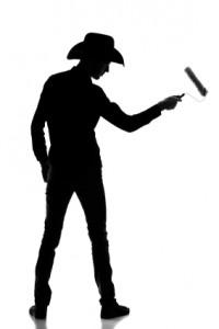 Cowboy builder - silhouette of a decorator/contractor