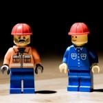 Rogue trader lego men with hard hats